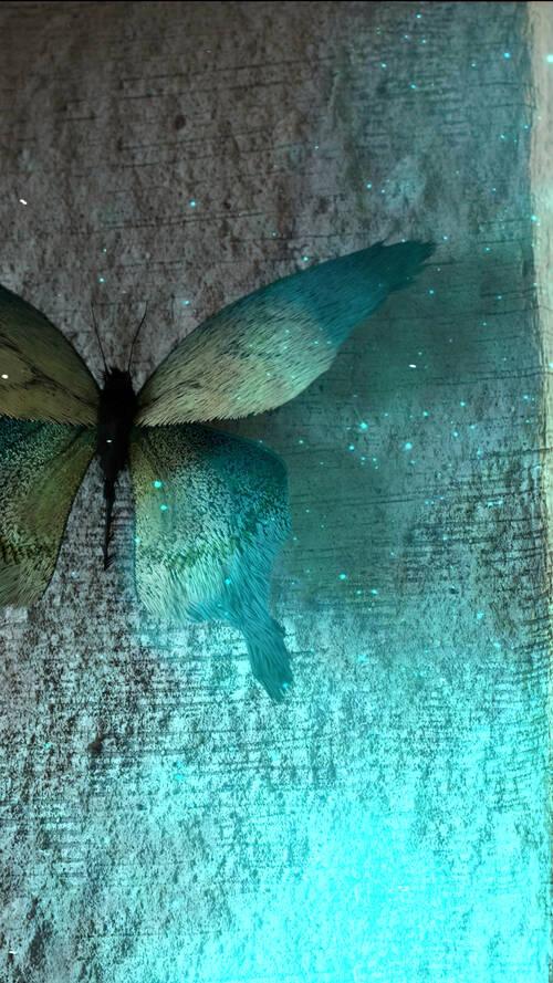 Image de synthèse représentant un papillon étrange sur un mur.
