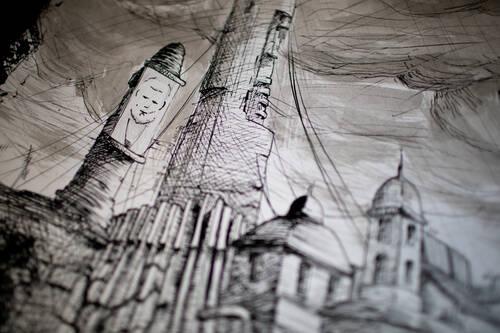 Dessin d'une ville futuriste avec un tour géante en fond