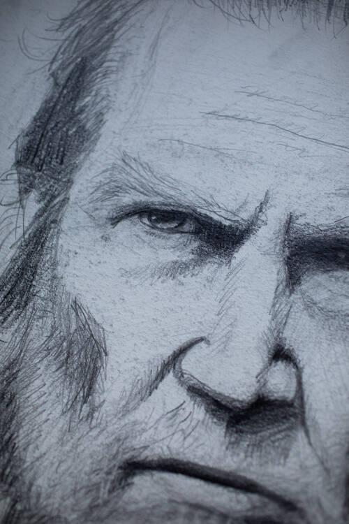 Portrait au crayon d'un visage qui ressemble un peu à Jeff Bridges