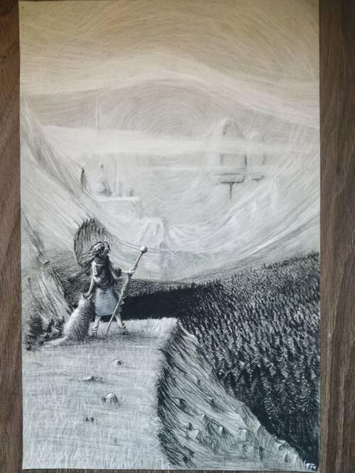 Un dessin noir et blanc d'un paysage de montagne avec des forêts de sapin. Au fond dans le brouillard, on distingue une ville futuriste avec des énormes bâtiments arrondis. Au premier plan, une personne aux cheveux longs se tient devant la vue, équipée d'un sac à dos et d'un bâton, accompagnée de son chien.