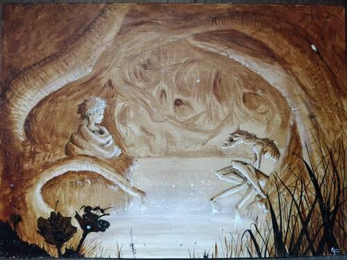 Dessin d'un enfant et d'un monstre squelettique qui se regardent paisiblement. La scène se déroule dans un marécage au milieu d'une forêt. La forêt est si dense qu'on dirait une caverne. L'eau semble est luminescente. Il y a une petite fourmi au premier plan.
