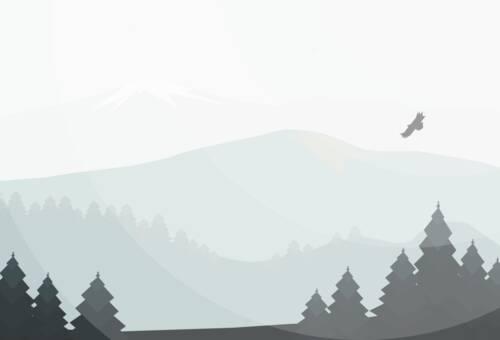 Un dessin vectoriel minimaliste d'un paysage de montagne avec des sapins et un aigle qui passe.