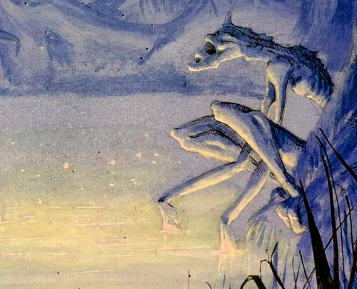 Dessin d'un monstre squelettique près d'un marécage luminescent dans une forêt sombre.
