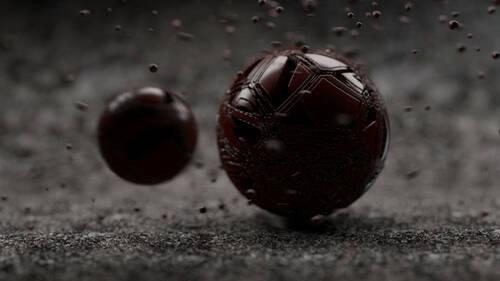 Image de synthèse représentant une sphère rouge étrange de quelques cm autour de la quelle gravitent plusieurs petites boules.