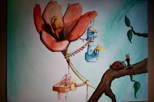 Dessin complet de la petite maison sur une fleur